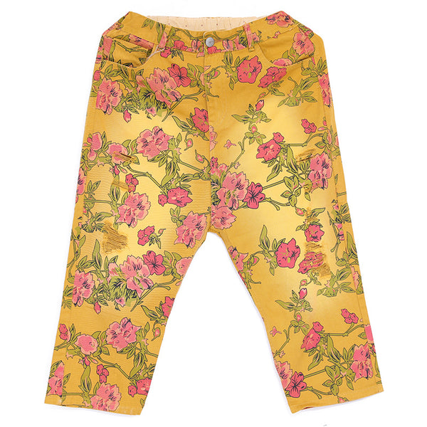 Casual Women Yellow Floral Printing Cotton Pants