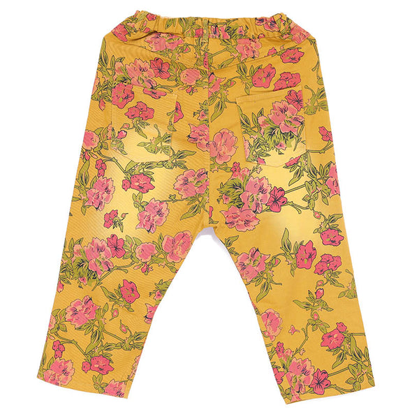 Casual Women Yellow Floral Printing Cotton Pants - Buykud