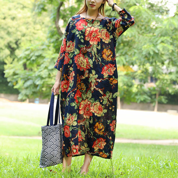 Autumn Loose Long Sleeve Retro Flower Dress For Women - Buykud