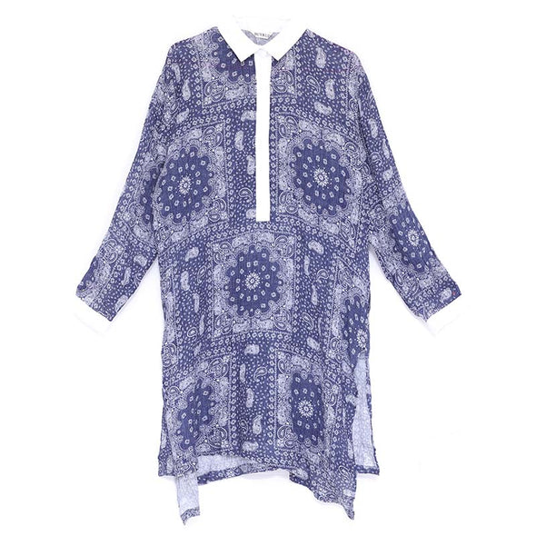 Loose Casual Women Polo Collar Long Sleeve Printing Dress - Buykud