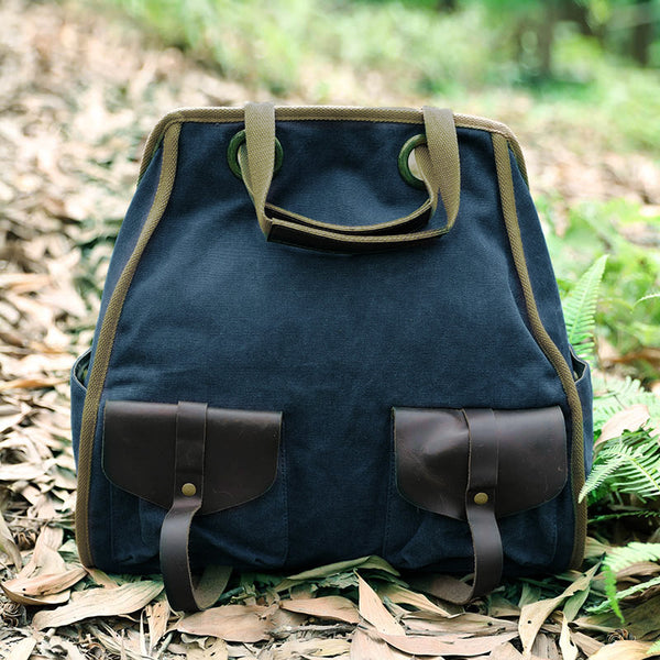 Casual Double Pocket Canvas Leather Women Backpack - Buykud