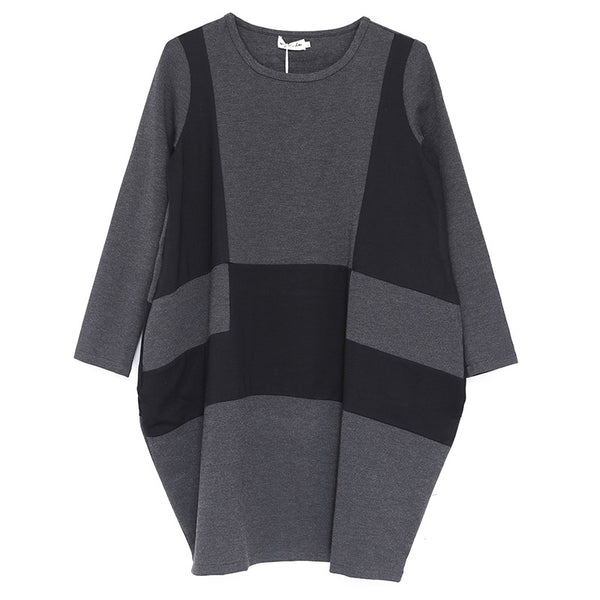 Autumn Women Round Neck Long Sleeve Loose Dress - Buykud