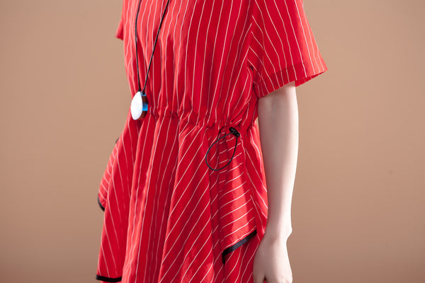 Stripe Short Sleeve Round Neck Drawstring Red Dress - Buykud