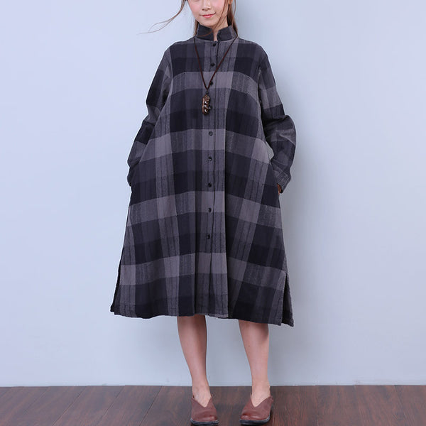 Splitting Lattice Women Cotton Linen Loose Gray Shirt Dress - Buykud