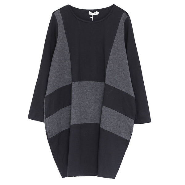 Women Round Neck Long Sleeve Loose Dress In Black and Deep Gray - Buykud