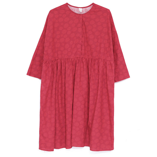 Women Loose Round Neck Long Sleeve Red Pleated Dress - Buykud