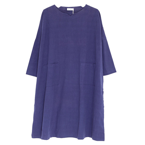 Women Linen Loose Long Sleeve Spring And Autumn Dress - Buykud