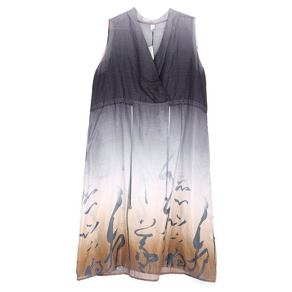 Women Summer V Neck Sleeveless Printing Ramie Dress - Buykud