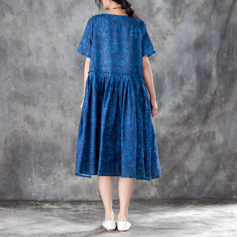 Women Pleated Short Sleeves Dress Blue Summer Skirt