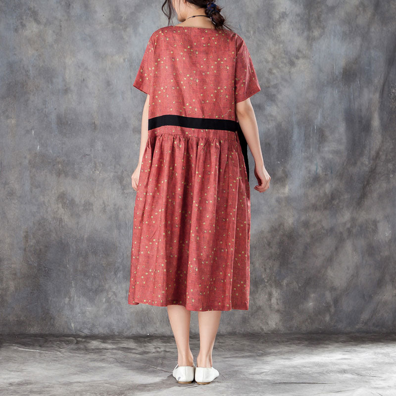Printed Lacing Short Sleeve Dresses Red Pleated Dress