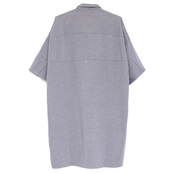 Loose Large Size Women Polo Collar Gray Plain Dress - Buykud