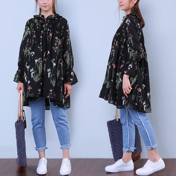 Floral Women Printing Loose Lacing Linen Cotton Splicing Shirt - Buykud