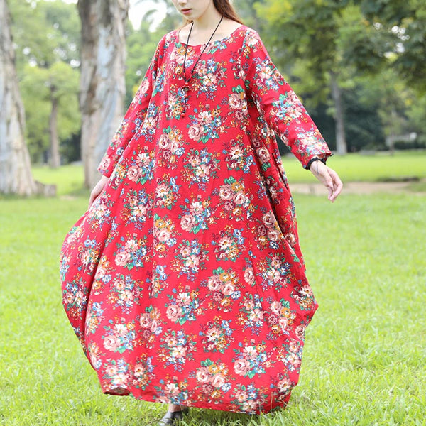 Long Sleeve Printing Autumn Red Dress For Women - Buykud