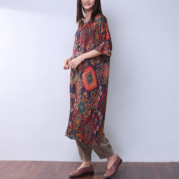 Printing Summer Loose Casual Women Silk Splitting Coffee Dress