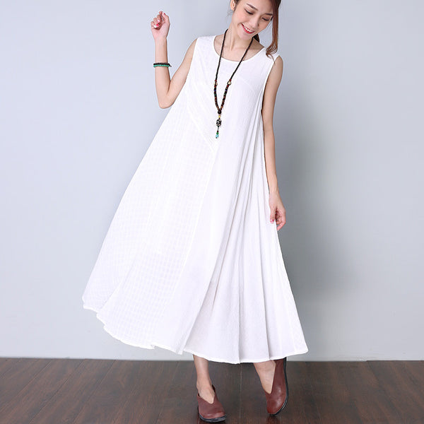 Solid Cotton Folded Women White Dress