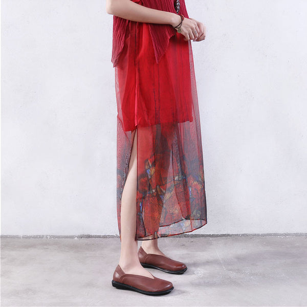 Summer Fold Button Splicing Printing Cotton Linen Red Dress - Buykud