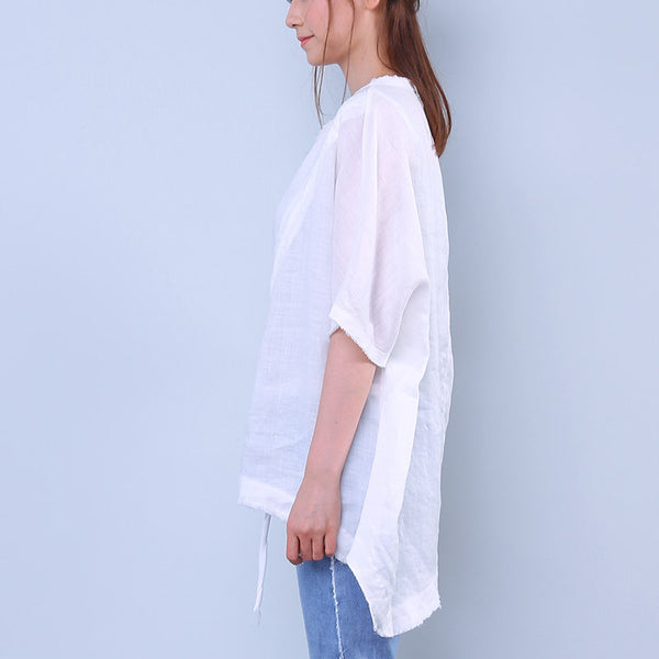 Cotton Linen Loose Women Splicing Irregular String White Shirt - Buykud