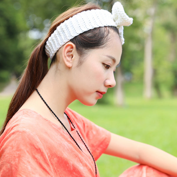 Sweety Women Knitted White Bow Tie Hair Bands - Buykud