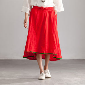 Loose Lacing Red Casual Linen Women Skirts