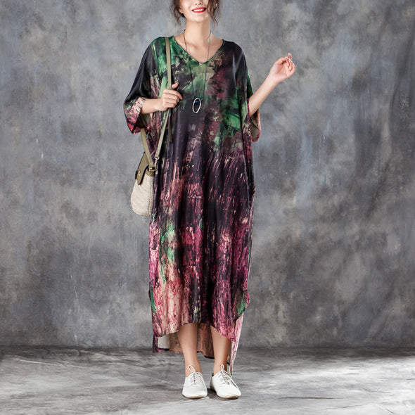 Loose V Neck 1/2 Sleeve Printed Irregular Dress