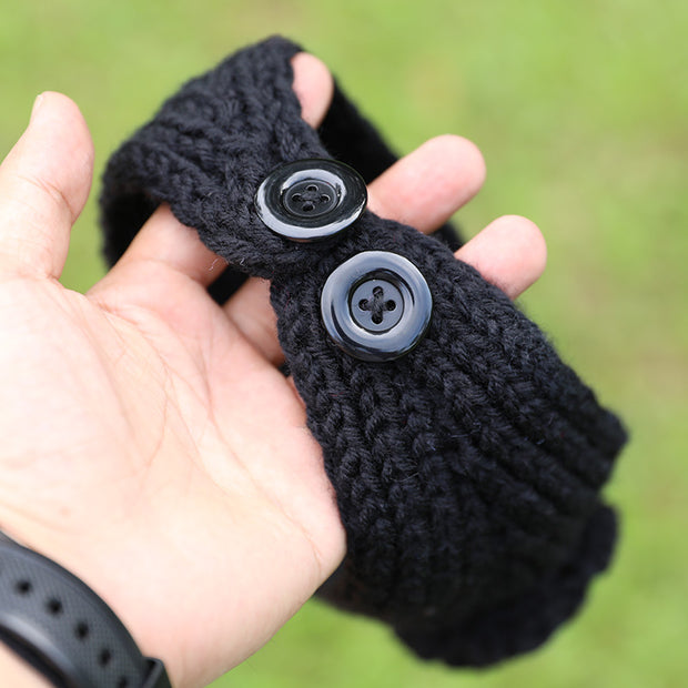 Stylish Black Knitted Flower With Buttons Hair Bands For Women - Buykud