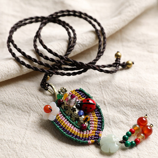 Hollowed Metal Ethnic Style Exquisite Mixed Color Knitting Carnelian Necklaces - Buykud