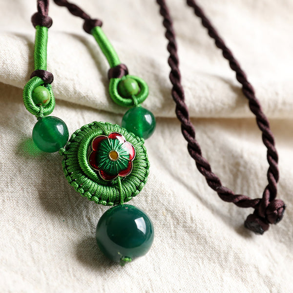 Ethnic Style Exquisite Retro Green Carnelian Pendant Necklaces - Buykud