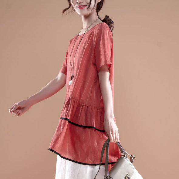 Stripe Casual Round Neck Short Sleeve Red Tops - Buykud