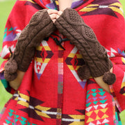 Fashion Winter Women Keep Warm Coffee Knitted Gloves - Buykud
