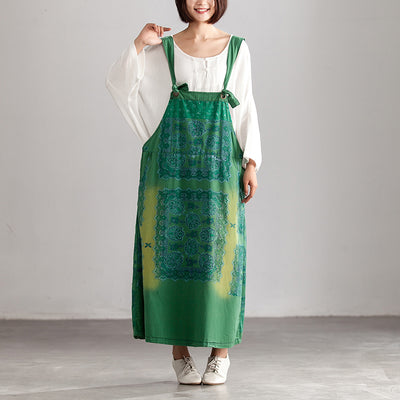 Summer Green Ethnic Casual Ankle-Length Overalls Dress