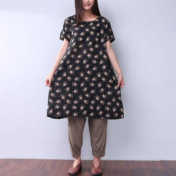 Frinting Floral Cotton Linen Women Loose Black Dress