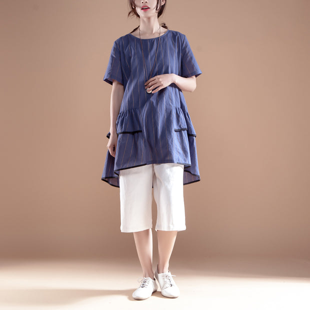 Stripe Casual Round Neck Short Sleeve Navy Blue Tops - Buykud