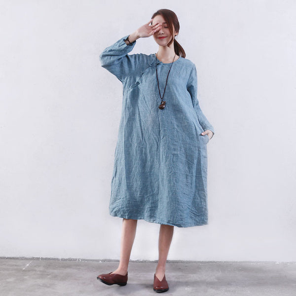 Women Retro Pocket Button Linen Blue Dress