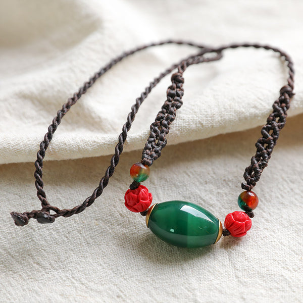 Exquisite Green Carnelian Vintage Necklaces - Buykud