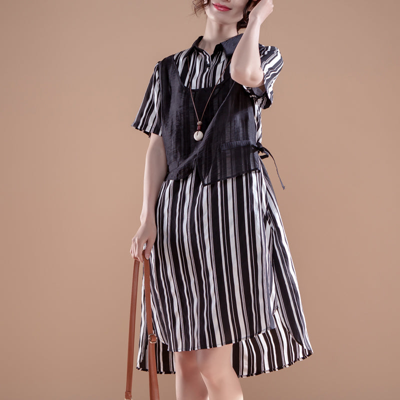 Stripe Polo Collar Short Sleeve False Two-piece Dress - Buykud