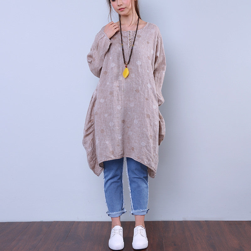 Women Applique Cotton Linen Loose Splicing Irregular Shirt Dress