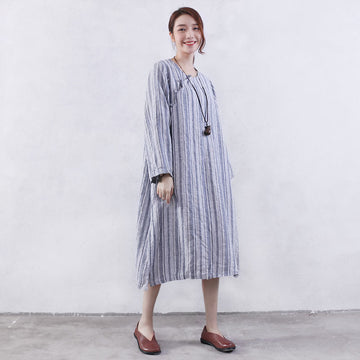 Women Retro Pocket Button Linen Gray Dress - Buykud