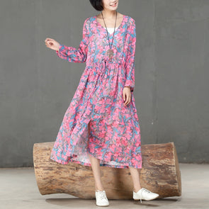 Spring Autumn V Neck Printed Long Sleeve Dress For Women - Buykud