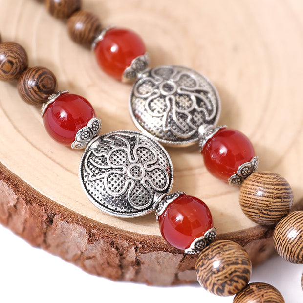 Metal Fish Wood Splicing Round Beads Necklace - Buykud