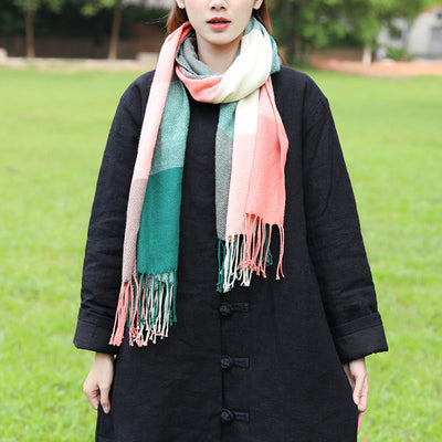 Sweety Women Fashionable Tassel Mixed Color Knitted Retangle Scarf - Buykud