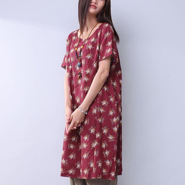 Frinting Floral Cotton Linen Women Loose Red Dress - Buykud