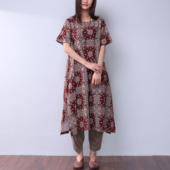 Summer Women Printing Loose Casual Linen Splitting Wine Red Dress - Buykud