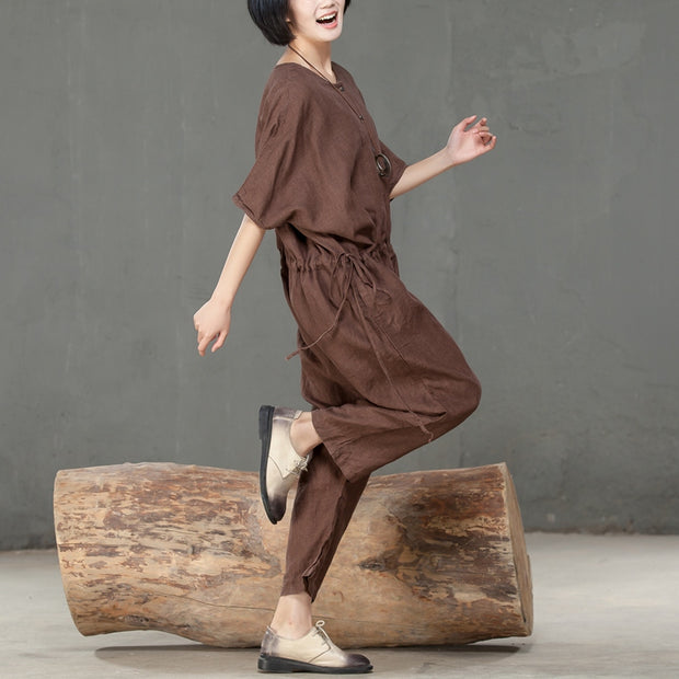 Women Loose Casual Linen Lacing Brown Rompers - Buykud