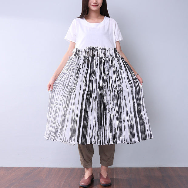 Summer Printing Women Folded Splicing White Dress - Buykud