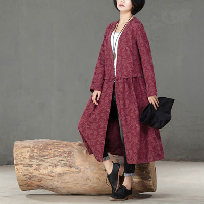 Loose Long Sleeve Red Thin Cotton Linen Coat For Women - Buykud
