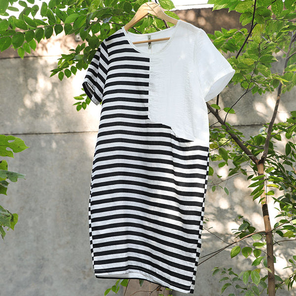 Black And White Stripe Women Round Neck Short Sleeve Dress - Buykud