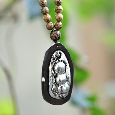 Round Beads Wood Metal Bean Splicing Pendant Necklace - Buykud