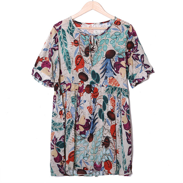 Colorful Printing Wome Summer Short Sleeve Pleated Dress - Buykud