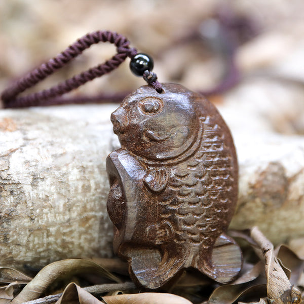 Knitted Rope Chain Wooden Fish Pendant Necklace - Buykud