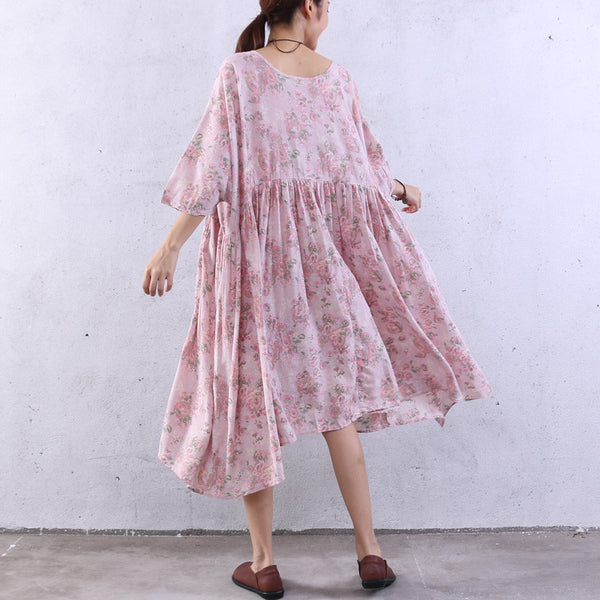 Floral Splicing Summer Loose Pink Dress
